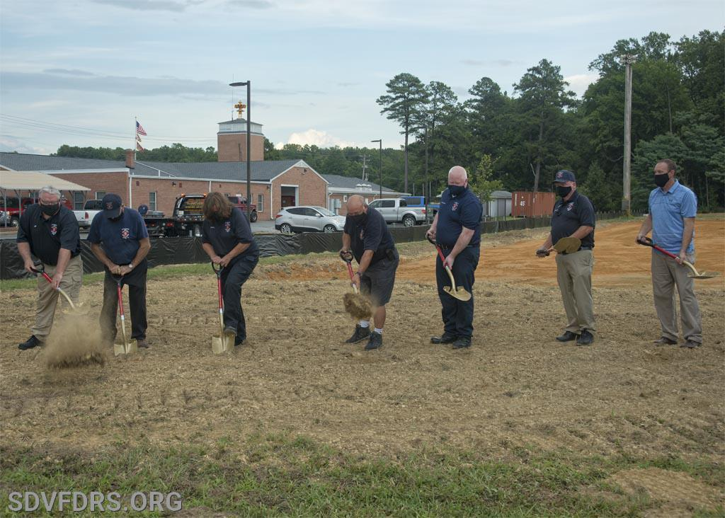 Ceremonial shovel bearers; (L to R;) John Caulder, Greg Adams, Cathy Caulder, Chief Gary Joy, Treasurer Mike Scrivener, Secretary/PIO Mike Roberts, Vice President Robert Grant