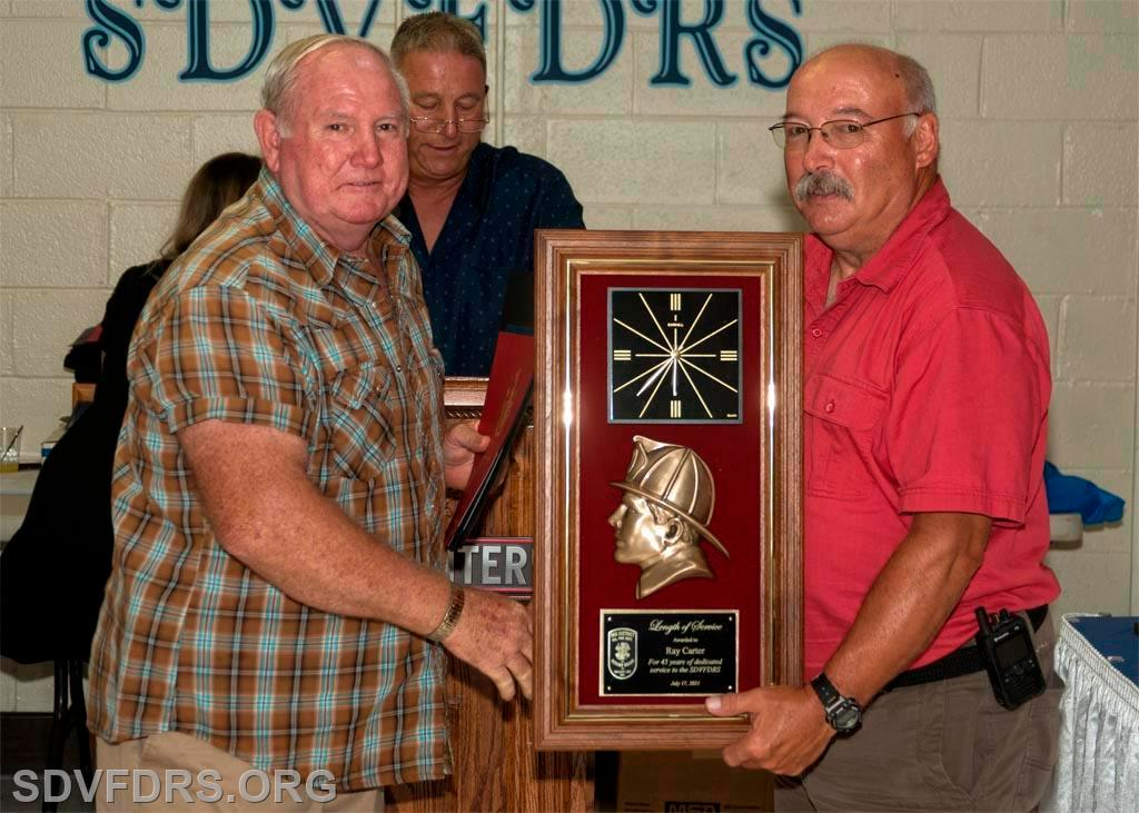 Ray Carter was recognized for 45 Years of Service to the SDVFDRS.